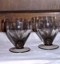 2 Large 16oz Smoked Glass Cocktail Goblets Blown Crystal Hand Made Vintage Retro