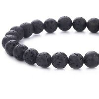 Pulsera elastica de lava negra para mujer 18 cm de largo por 8 mm de ancho