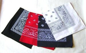 PAISLEY COTTON HANDKERCHIEF BANDANA RED BLACK RED WHITE BRACE YOURSELF