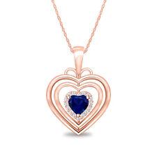 0.68 ct Blue Sapphire /Diamond Heart Shape Pendant Necklace In 14k Rose Gold Fn