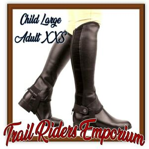 Saxon Equileather Half Chaps BROWN CHILD LARGE Adult XXS