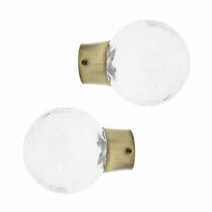 Pair Of 28mm Dia Curtain Pole Mix & Match Crackle Glass Finials - Antique Brass