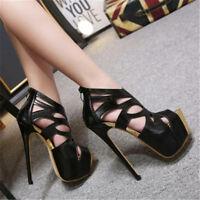 Super High Heels Women Peep Toe Stilettos Platform Sandals Party Nightclub Shoes