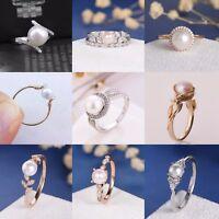 Vintage Women White Pearl 925 Silver Wedding Engagement Proposal Ring Size 5-12