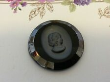 Cameo Glass West German Vintage 35mm Jet and Hematite Single piece CRAFT