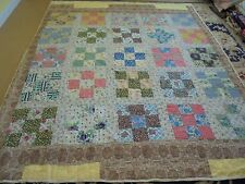 Nice Handmade Old Time Nine Piece Block Quilt