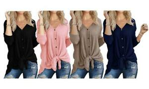 Women Loose Fit Tie Front Cardi Waffle Knit V Neck Top T-shirt Cardigan