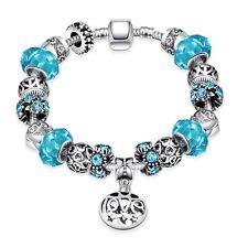 T::A Damen Bettel Armband Beads Charms ozeanblau pl. mit Sterlingsilber Anhänger