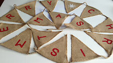 BN Merry Christmas Hessian Fabric Bunting Garland /rustic//xmas/decoration