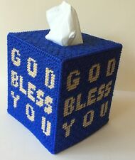 God Bless You Tissue Cover blue Boutique size acrylic yarn & canvas
