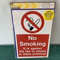 No Smoking Sign Self-Adhesive Rigid PVC 150mm x 225mm Industrial IS7601RP 829N