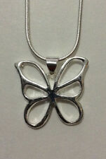 """Pendant 18"""" Necklace Silver Butterfly Outline Modern"""