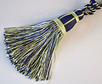 2 Tassels With Lots Of Fringe for Curtains. Extra Large. Royal Blue & Gold.