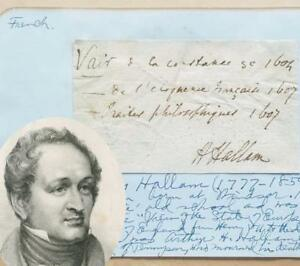 Authentic HENRY HALLAM Original SIGNED Handwritten NOTE AUTOGRAPH History