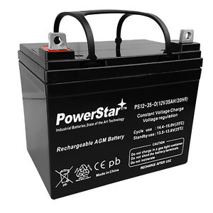 True Deep Cycle Sealed AGM Replacement Golf Cart Battery - 12 Volt 35 Amp Hour