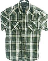 Machine Mens XL Short Sleeve Button Front Chest Pockets Plaids & Checks Shirt
