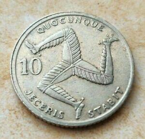 A 1992 Isle of Man Collectible Three Legs of Mann 10 Pence Coin