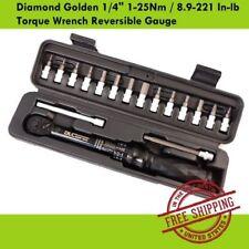 """DLC Diamond Golden 1/4"""" 1-25Nm / 8.9-221 In-lb Torque Wrench Reversible Gauge"""