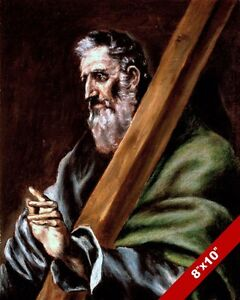 SAINT ANDREW THE APOSTLE OF JESUS PAINTING CHRISTIAN BIBLE ART REAL CANVAS PRINT