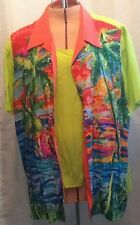 Diane Gilman 2 Piece Blouse with Reversible Tank Top, Sequin, Palm Tree, Dolphin
