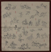 Furoshiki Wrapping Cloth Japanese Fabric Red 'Playful Animals' Cotton 50cm