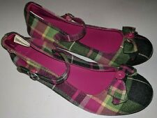 Gymboree Girls Sz 4 Pink / Gray / Green Plaid  Mary Janes Shoes