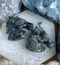 Black moonstone Larvikite necklace horse head pendant crystal healing spiritual