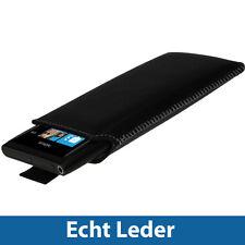 Schwarz Echt Leder Beutel für Nokia Lumia 800 Windows Tasche Hülle
