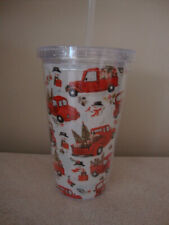 Christmas holiday red truck acrylic plastic drink cup tumbler
