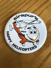 RARE 1981-1985 Airspur Helicopter Advertising Pinback Pin Back Happy Helicopters