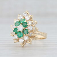 1.50ctw Emerald Diamond Flower Ring 14k Yellow Gold Size 7.5 Floral Cocktail