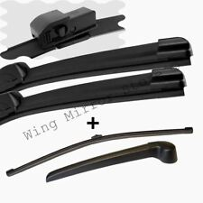 For Audi A4 (8E5, B6) 01-04 Estate Front and Rear Windscreen Wiper Blades + arm