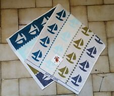 Sailing Boat Sea Pattern Face Towel Double-Side Hand Body Dry Cotton 75x35cm