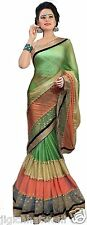 INDIAN ETHNIC GREEN ORANGE BEIGE 3D DESGINER WITH EXCLUSIVE BORDER SAREE SARI