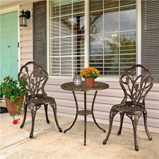 More details for 3 piece garden furniture set patio bistro set aluminum dining table and chairs