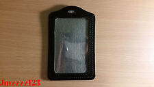 2 PCs Clear Faux Leather Vertical Name Tag ID Card Holder - BLACK*AUSSIE SELLER*
