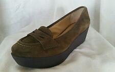 Circa Joan & David 10 M Olive Green Olwen soft Suede platform moccasins shoes