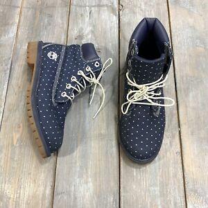 Timberland womens Navy Blue Polka Dot Lace Up Boots Primaloft Waterproof Adult 6