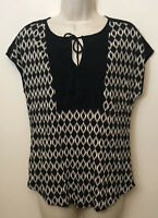 NWT Cb Established 1962 Dressbarn Small Top Black & White Short Cap Sleeve Shirt