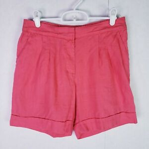Boden coral pink 100% linen shorts size 4