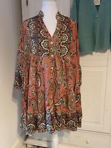 Tunika / Kurzes Kleid Boho Ibiza Hippie Neu Multi