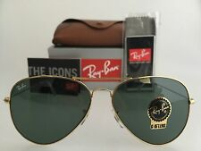AUTHENTIC RAY-BAN AVIATOR RB3026 L2846 62MM LARGE GREEN LENS GOLD SUNGLASSES