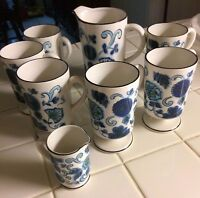 VINTAGE (6) HOLT HOWARD CUPS, A LARGE CREAM PITCHER & SMALL PITCHER