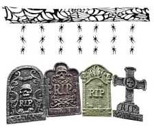 Juego de 4 decoraciones de Halloween Cementerio Tombstones & Colgante Araña Guirnalda HA7