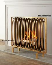 NEW Horchow STUNNING MODERN OVAL Loops Golden IRON Fireplace Screen  Geometric