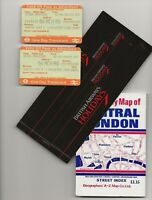 1989 British Airways ticket (Chicago to London) and map of Central London