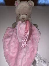 Carters Child of Mine Tan Bear Pink Minky Rattle Baby Lovey Security Blanket Cc