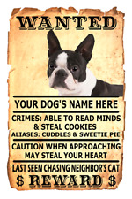 Boston Terrier Wanted Poster Flex Fridge Magnet Personalized Dogs Name