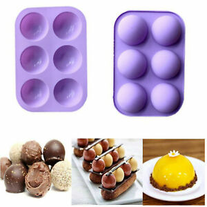 2Pcs 6 Holes Semi Sphere Round Silicone Mold Chocolate Bombs Cake Baking Mould