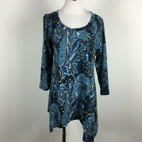 Premise XLTop Shirt Stretch Knit Blue Paisley Scoop Neck 3/4 Sleeve